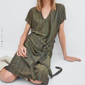 Zara Textured Striped Metallic Dress